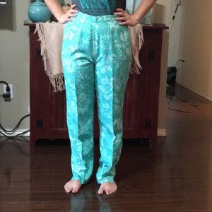 Lilly Pulitzer Silk Pants High Waisted Size 10